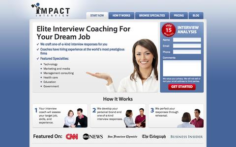 Screenshot of Home Page impactinterview.com - Professional Interview Coach for $100k Jobs - captured Sept. 19, 2014