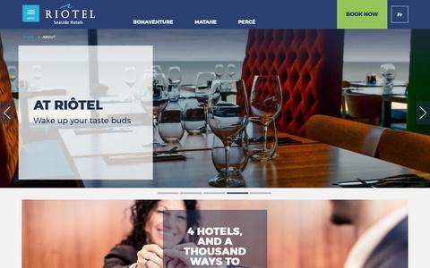 Screenshot of About Page riotel.com - About – Seaside hotels, Gaspé Peninsula | Riôtel - captured Oct. 29, 2018