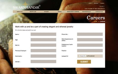 Screenshot of Jobs Page swarnmandir.com - Swarnmandir - captured Nov. 18, 2016