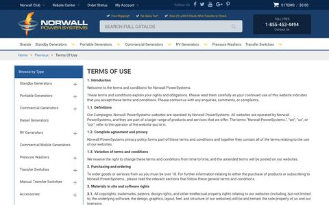 Screenshot of Terms Page norwall.com - Terms Of Use - captured June 22, 2017