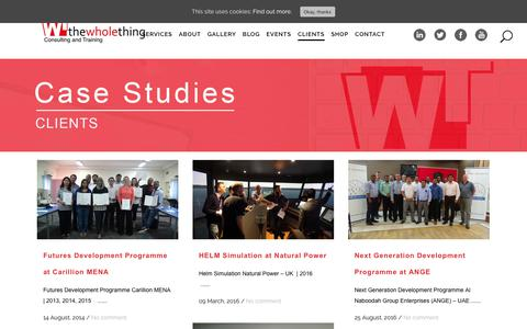 Screenshot of Case Studies Page thewholething.net - Case Studies | Selected Projects by The Whole Thing in the UK and UAE - captured May 30, 2019