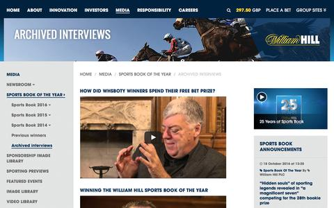Screenshot of williamhillplc.com - William Hill PLC: Archived interviews                 - Sports Book of the Year                 - Media - captured Oct. 22, 2016