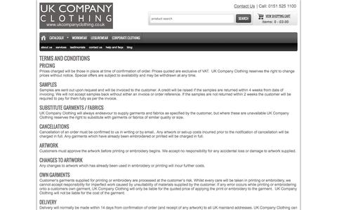 Screenshot of Terms Page ukcompanyclothing.co.uk - UK Company Clothing Terms and Conditions - captured Oct. 3, 2014