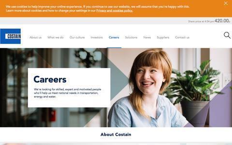 Screenshot of Jobs Page costain.com - Careers | Costain - captured July 21, 2018