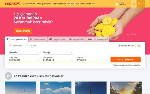 Screenshot of Home Page flypgs.com - En Uygun Pegasus Uçak Bileti Fiyatları | Pegasus - captured Sept. 21, 2018