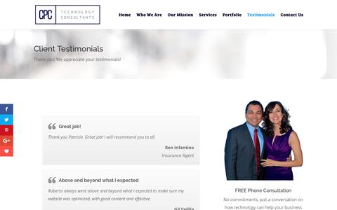 Screenshot of Testimonials Page cpccci.com - Client Testimonials for IT Consultants Miami and SEO Internet Consultants Miami - captured July 14, 2018
