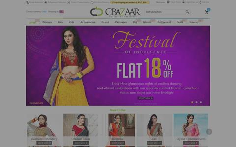 Screenshot of Home Page cbazaar.com.au - Buy Sarees, Salwars, Kurta, Lehenga Choli: Indian Ethnic Wear Online AU - captured Sept. 19, 2014