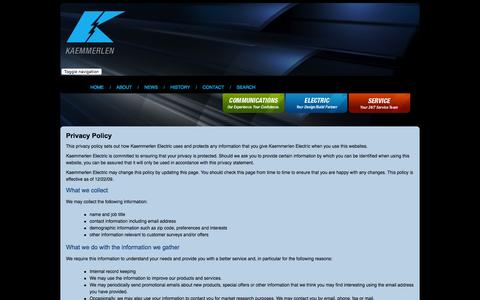 Screenshot of Privacy Page kaemmerlen.com - Kaemmerlen Electric - Communications - Service | St. Louis Electrical Contracting - captured Feb. 12, 2016