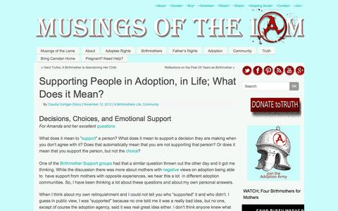 Screenshot of Support Page adoptionbirthmothers.com - Supporting  People in Adoption, in Life; What Does it Mean? | Musings of the Lame - captured Feb. 15, 2016