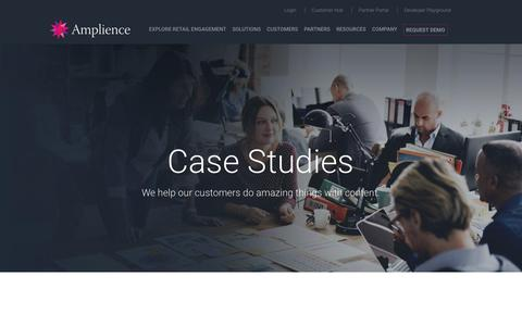 Screenshot of Case Studies Page amplience.com - Case Studies - Amplience - captured July 12, 2018