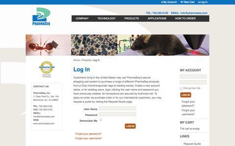 Screenshot of Login Page pharmaseq.com - Log In - captured Sept. 29, 2014