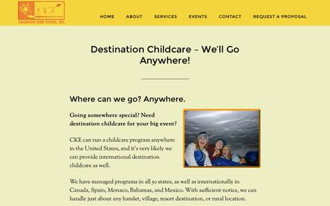 Screenshot of Locations Page conferencechildcare.com - Corporate Kids Events services all major cities in the Unites States (U.S.) - captured Nov. 12, 2016