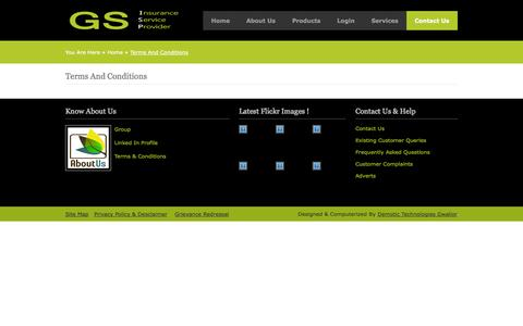 Screenshot of Terms Page gsinsurance.in - GS Insurance | Contact Us - captured Nov. 1, 2014