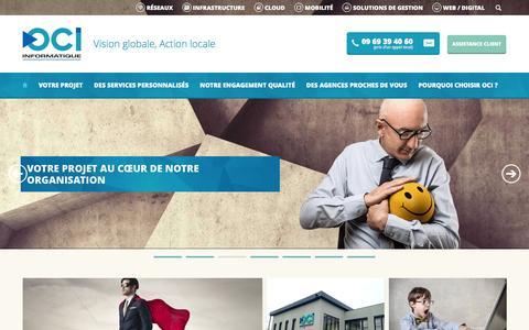 Screenshot of Home Page oci.fr - OCI Informatique - SSII en Alsace, Lorraine, Champagne, Franche-Comté, Bourgogne - captured Jan. 10, 2016