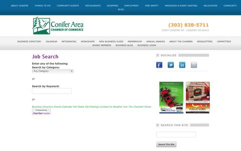 Screenshot of Jobs Page goconifer.com - Job Search - Conifer Chamber of Commerce | Conifer, Colorado - captured Oct. 2, 2014
