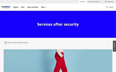 Screenshot of Services Page schiphol.nl - Schiphol | Services after security - captured June 21, 2017