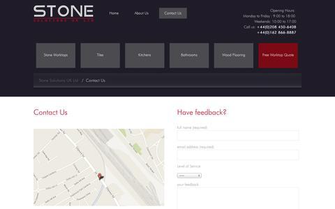 Screenshot of Contact Page stonesolutionsuk.com - Contact Us : Stone Solutions UK Ltd - captured Oct. 7, 2014