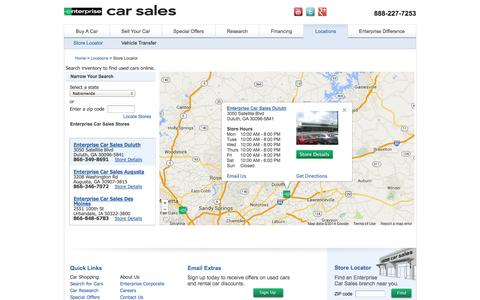 Screenshot of Contact Page Locations Page enterprisecarsales.com - Find Used Cars Online - Enterprise Car Sales Locations - captured Oct. 23, 2014