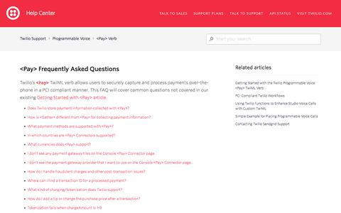 Screenshot of FAQ Page twilio.com - <Pay> Frequently Asked Questions – Twilio Support - captured Nov. 28, 2019