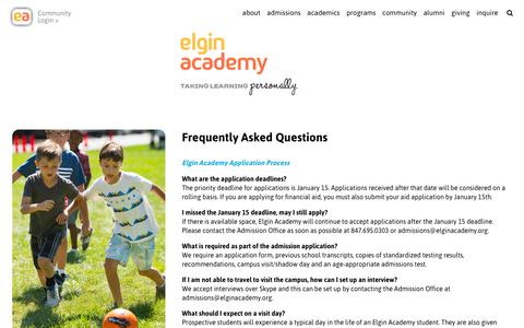 Screenshot of FAQ Page elginacademy.org - Frequently Asked Questions - Elgin Academy - captured July 28, 2017