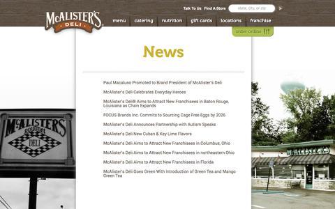 Screenshot of Press Page mcalistersdeli.com - News | McAlister's Deli - captured June 10, 2017