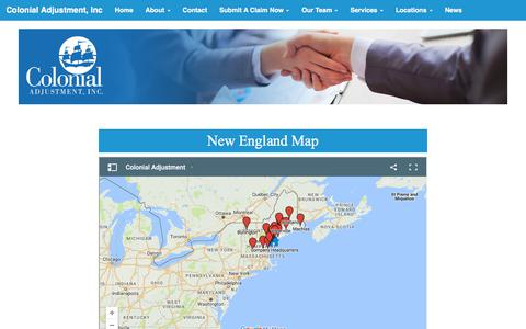 Screenshot of Maps & Directions Page colonialadj.com - New England Map - Colonial Adjustment - Colonial Adjustment - captured Aug. 13, 2017