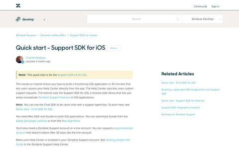 Screenshot of Support Page zendesk.com - Quick start - Support SDK for iOS – Zendesk Develop - captured Aug. 5, 2018