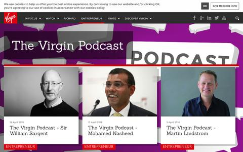 Screenshot of virgin.com - The Virgin Podcast | Virgin - captured April 21, 2016
