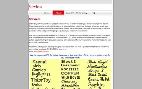 Screenshot of Services Page gobooth.com - Services - captured Aug. 21, 2017