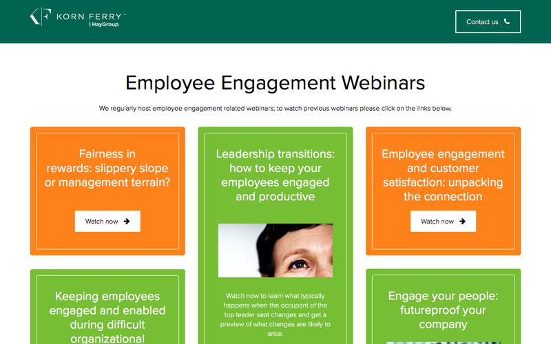 Employee Engagement webinar hub