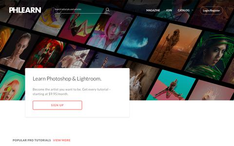 Screenshot of Home Page phlearn.com - The #1 Photoshop, Lightroom, and Photography Tutorials Website Online - captured July 21, 2019