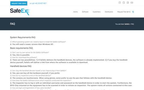 Screenshot of FAQ Page safeex.com - FAQ SafeEx system - Are you wondering? - captured July 20, 2016