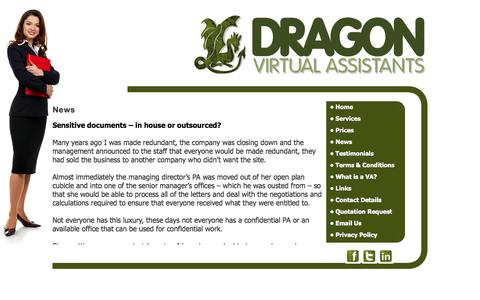 Screenshot of Press Page dragonvirtualassistants.co.uk - Dragon Virtual Assistants provide  secretarial services, Audio Typing Services, word processing, mailshots and mail merge services, proof reading,research, office management, office administration, invoicing, credit control,Telephone answering, call  - captured Sept. 30, 2014