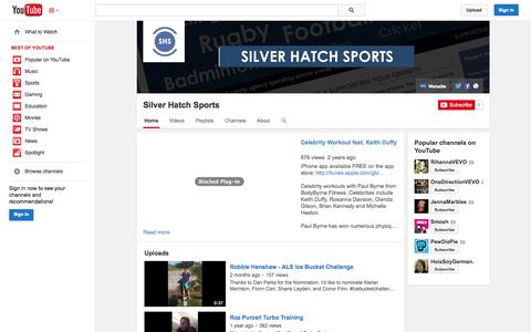 Screenshot of YouTube Page youtube.com - Silver Hatch Sports  - YouTube - captured Oct. 29, 2014