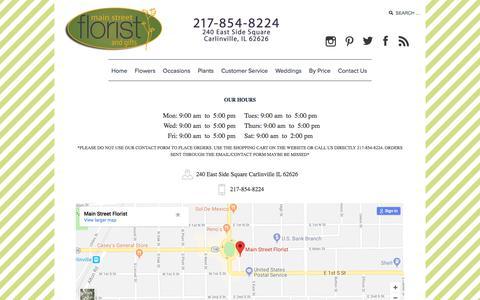 Screenshot of Contact Page main-street-florist.com - Main Street Florist - captured July 25, 2018