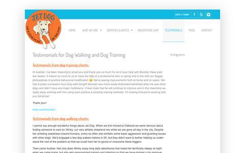Screenshot of Testimonials Page jetdoglove.com - Testimonials for Dog Walking and Dog Training - Jet Dog Jet Dog - captured Oct. 16, 2017