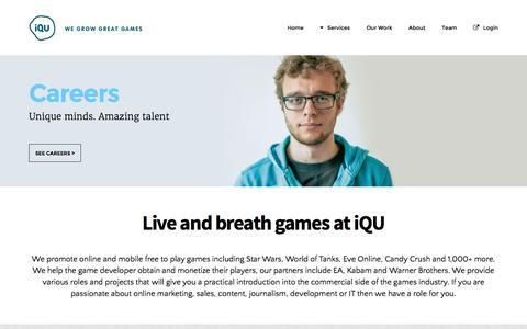 Screenshot of Jobs Page iqu.com - Careers | iQU - captured Aug. 6, 2016