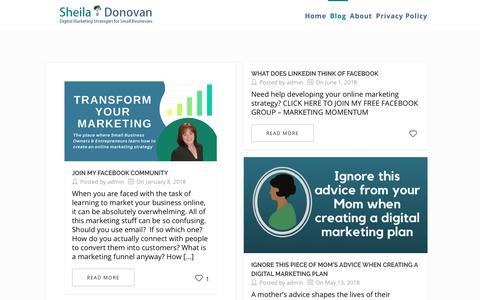 Screenshot of Blog sheiladonovan.com - Blog - Sheila Donovan Marketing - captured July 19, 2018
