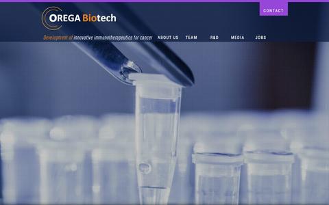 Screenshot of Home Page orega-biotech.com - Orega Biotech   Development of innovative immunotherpeutics for cancer - captured Feb. 21, 2016
