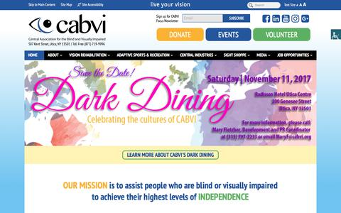 Screenshot of Home Page cabvi.org - Homepage | Central Association for the Blind & Visually Impaired - captured July 20, 2017