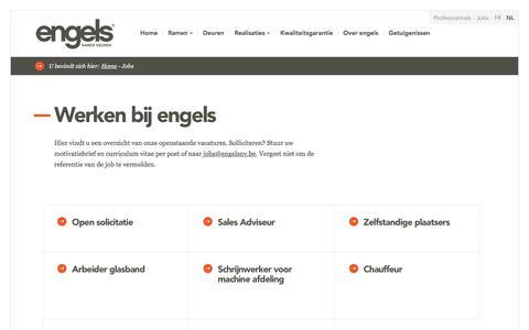 Screenshot of Jobs Page engelsnv.be - Jobs | Ramen en deuren van hoge kwaliteit - Engels - captured July 19, 2018