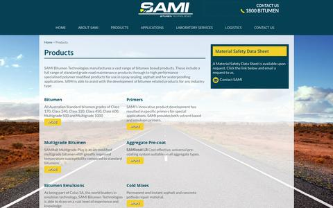 Screenshot of Products Page sami.com.au - Products - Sami Bitumen Technologies - captured Feb. 4, 2016