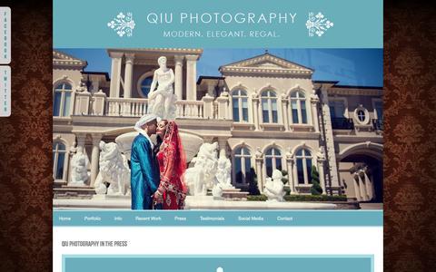 Screenshot of Press Page qiuphotography.ca - Toronto Wedding Photography by Toronto Wedding Photographer Qiu Photography Mississauga Wedding Photography by Mississauga Wedding Photographer - captured Sept. 29, 2014