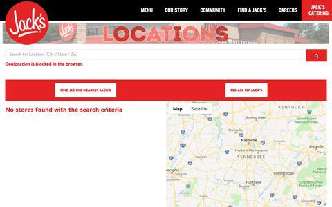 Screenshot of Locations Page eatatjacks.com - Find a Jack's | Jack's Family Restaurants  - Jack's Family Restaurants - captured Oct. 13, 2018