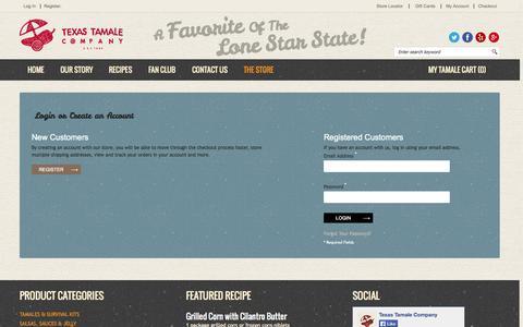 Screenshot of Login Page texastamale.com - Texas Tamale Company Customer Login Houston, TX - captured Oct. 7, 2014
