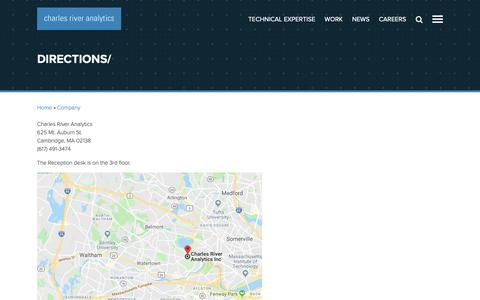 Screenshot of Maps & Directions Page cra.com - Directions | Charles River Analytics - captured Dec. 14, 2018