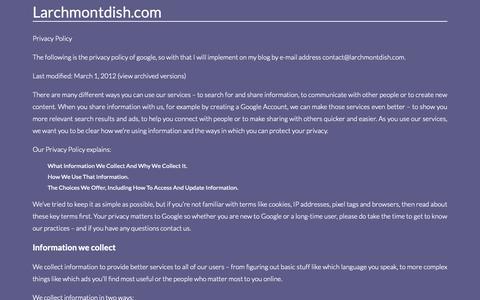 Screenshot of Privacy Page larchmontdish.com - Contact. Page on Contactlarchmontdish.com - captured Sept. 27, 2018