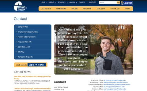 Screenshot of Contact Page centralchristian.edu - Contact Central Christian - Phone, Fax, Address, Map & Department Emails - captured Sept. 27, 2018