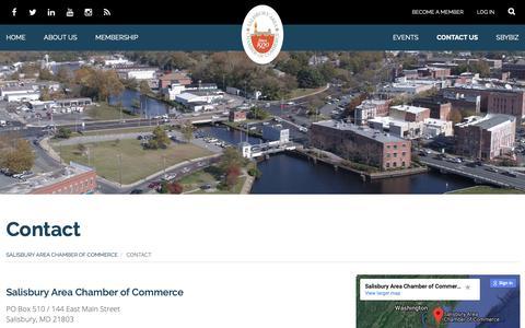 Screenshot of Contact Page salisburyarea.com - Contact The Salisbury Maryland Area Chamber of Commerce - captured Oct. 1, 2018