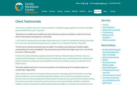 Screenshot of Testimonials Page fmcstaffs.co.uk - Testimonials - captured Oct. 10, 2018